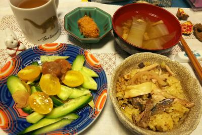 DSC_4760_1124夜-サンマオレンジご飯、ミニトマトとキュウリの梅和えサラダ、スープ、カキフライ_400.jpg
