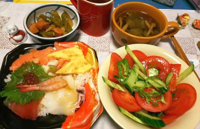 DSC_4787_1127夜ちらし寿司、トマト・キュウリ・ピーマンサラダ、ソーセージとナスとピーマンのラタトゥイユ風、しめじとレタスの和風スープ_400.jpg
