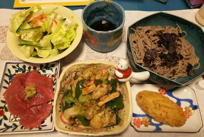DSC_4942_1129夜-牡蠣とレタスのスープ炒め、マグロ切り落とし、白身魚のフライ、レタスサラダ、蕎麦_400.jpg