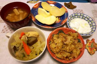 DSC_4965_1202夜-チキンスープ煮、サンマオレンジご飯、豆腐のお吸い物、リンゴ、ヨーグルト_400.jpg