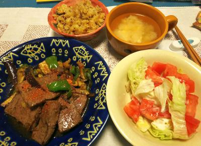 DSC_5163_1211夜-ビーフステーキ、野菜添え、レタストマトサラダ、縄文ご飯、みそ汁_400.jpg