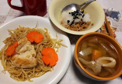 DSC_5358_1229夜-人参チキン焼きそば、白菜のスープ、おろし納豆_400.jpg