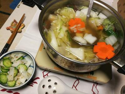 DSC_5363_1230夜-鶏とタラの鍋、キュウリと大根の錦松梅和え_400.jpg