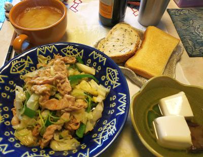 DSC_5452_0106昼-ポーク野菜炒め三つ葉入り、湯豆腐、白菜みそ汁、トースト_400.jpg