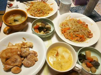 DSC_5458_0106夜-チキンソテー、モヤシたっぷり焼きそば、大根みそ汁、根菜煮物_400.jpg