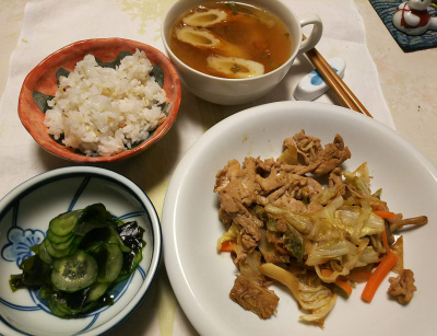 DSC_5487_0109夜-ポークソテー、キュウリとわかめ酢の物、ちくわスープ、雑穀ご飯_400.jpg