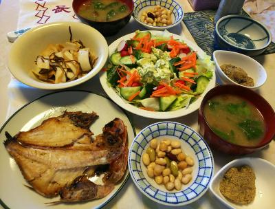 DSC_5529_0111昼-赤魚干物、採れたてラディッシュとアボカドサラダ、ラディッシュの葉の味噌汁、きな粉餅、豆水煮、大根昆布じめ_400.jpg