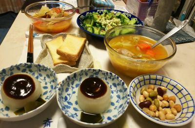 DSC_5552_0112夜-風呂吹き大根、チキンスープ、アボカドサラダ、豆水煮、トースト_400.jpg