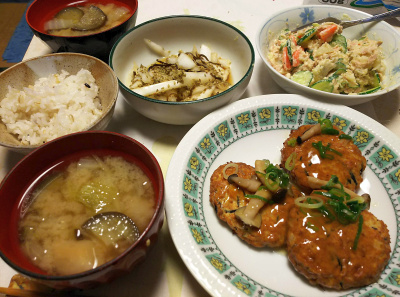 DSC_5580_0115夜-豆腐ハンバーグ、ツナポテトサラダ、ナスの味噌汁、白菜即席漬け、雑穀ごはん_400.jpg