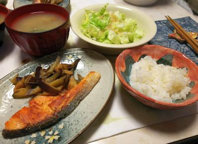 DSC_5593_0117夜-鮭焼き、ナスソテー、白菜サラダ、なめこ味噌汁、すし飯_400.jpg