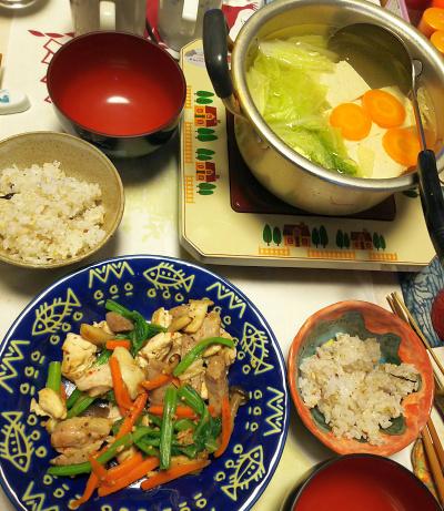 DSC_5612_0119夜-湯豆腐、ポークとささみソテー、雑穀ごはん_400.jpg