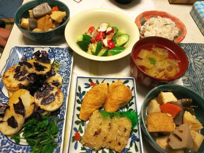 DSC_5687_0129夜-ラディッシュサラダ、山芋ソテーにラディッシュの葉添え、いなり寿司鶏五目おにぎり、筑前煮、白菜スープ_400.jpg