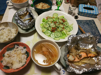 DSC_5704_0131夜-鮭のホイル焼き、キュウリサラダ、もやしスープ、卸納豆、雑穀ごはん_400.jpg