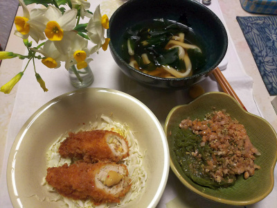 DSC_5757_0205夜-ささみチーズ揚げ、めかぶ納豆、わかめうどん_400.jpg