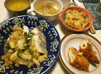 DSC_5764_0206夜-鱈バジル漬け、キャベツ炒め、ささみチーズフライ、サンマオレンジご飯、白菜スープ_400.jpg