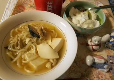 DSC_5825_0215昼-豆腐と鶏うどん、キーウィヨーグルト、風邪の処方薬_400.jpg