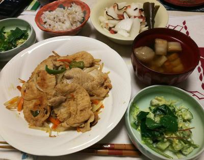 DSC_5842_0217夜-ポークソテー、ラディッシュの葉とアボカドのサラダ、お吸い物、大根の梅甘煮和え_400.jpg