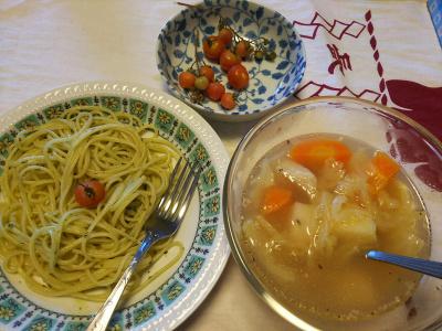 DSC_5851_0218昼-バジルスパゲティ、野菜スープ、採れたてドワーフトマト_400.jpg