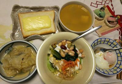 DSC_5975_0228夜-ナムルのっけ豆キーウィヨーグルト、白菜煮、温泉卵、スープ、チーズトースト_400.jpg