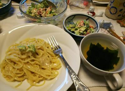 DSC_6010_0304昼-スパゲティ、アボカド蟹かまサラダ、スープ_400.jpg
