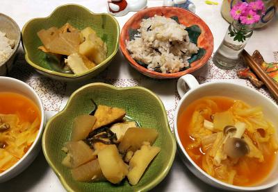 DSC_6045_0308夜-じゃがいもと大根と厚揚げ煮物、白菜スープ、雑穀ごはん_400.jpg