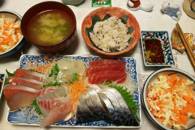 DSC_6053_0309夜-刺し身としめ鯖、キャベツと人参サラダ、味噌汁、雑穀ごはん_400.jpg