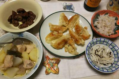 DSC_6066_0311夜-鶏とじゃがいもと大根とこんにゃくのスープ煮、砂肝焼き。ミニ餃子、大根昆布和え、雑穀ごはん_400.jpg