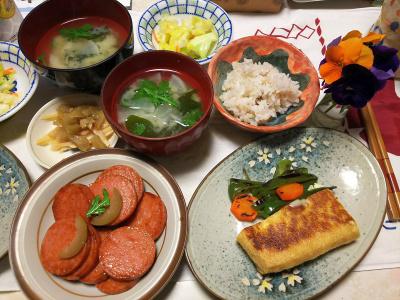 DSC_6169_0321夜-ボローニャソーセージ、厚揚げチーズハサミ焼き、サラダ春菊の味噌汁、甘煮梅と生姜の酢漬け、雑穀ごはん_400.jpg