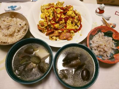 DSC_6244_0324夜-ナスと鶏のスープ煮、ソーセージ卵、雑穀ごはん_400.jpg
