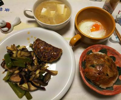 DSC_6301_0329夜-ハンバーグ野菜炒め、天活おにぎり、温泉卵、味噌汁_400.jpg