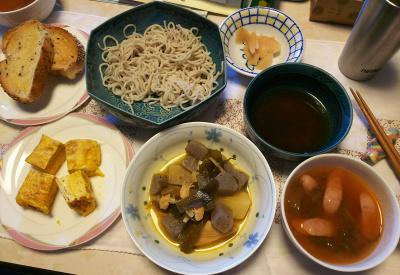DSC_6365_0402昼-卵焼き、こんにゃく煮物、ソーセージスープ、胡麻パン、蕎麦、酢漬け生姜_400.jpg