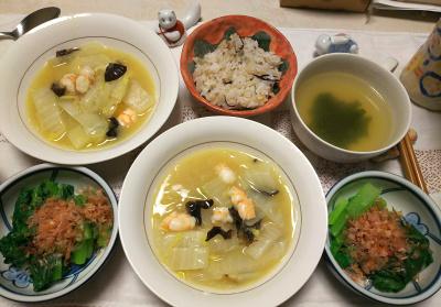 DSC_6368_0402夜-エビと白菜のエスニックスープ煮、小松菜のおひたし、わかめスープ、雑穀ごはん_400.jpg