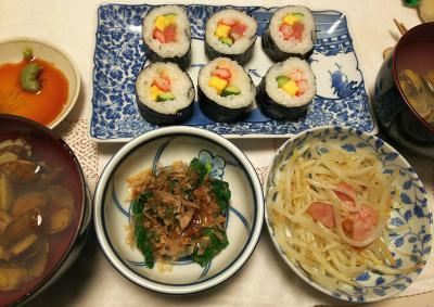 DSC_6390_0404夜-巻き寿司、もやし炒め、潮汁(アサリ)、小松菜のおひたし_400.jpg