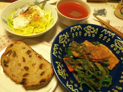 DSC_6406_0406夜-ポークソテー小松菜添、キャベツヨーグルトサラダ、レーズンくるみパン、トマトスープ_400.jpg