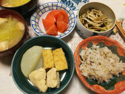 DSC_6424_0408夜-鶏と大根と厚揚げ煮、トマト、縄文ご飯、大根の昆布和え_400.jpg