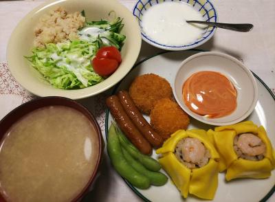 DSC_6441_0410夜-茶巾寿司、ミニハムカツ、ソーセージ、枝豆、ポテト野菜サラダ、スープ、ヨーグルト_400.jpg