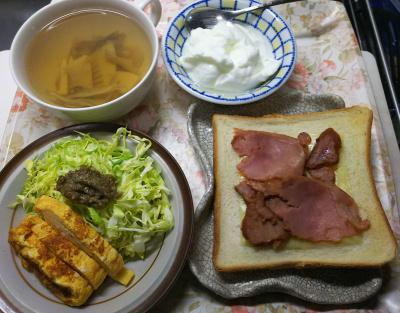 DSC_6481_0416昼・キッチン-ポークチーズトースト、卵焼き、ゴボウ味噌キャベツサラダ、たけのこと舞茸のアサリスープ、ヨーグルト_400.jpg