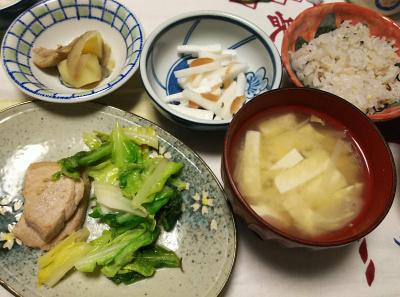 DSC_6580_0422ポークソテー春キャベツ添え、大根の甘煮ウメ和え、じゃがいもゴボウ、豆腐味噌汁、雑穀ごはん_400.jpg