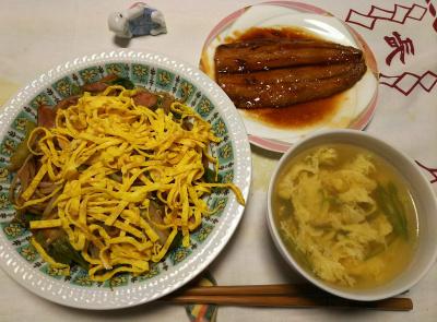 DSC_6604_0426夜-サンマ照り焼き、錦糸卵焼きそば、とき卵スープ_400.jpg