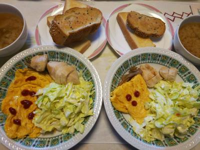 DSC_6715_0430昼-オムレツ、チキンソテー、キャベツサラダ、味噌汁、トースト_400.jpg