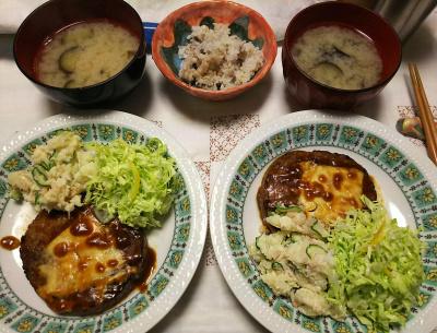 DSC_6766_0506夜-チーズハンバーグ、キャベツ、ポテトサラダ、ナスの味噌汁、小豆ご飯_400.jpg