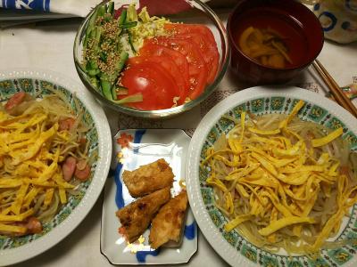 DSC_6787_0509夜-錦糸卵のせ焼きそば、吟醸漬けかしわ、トマトサラダ、お吸い物_400.jpg