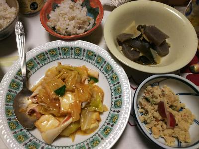DSC_6951_0519夜-とれたてラディッシュのせ卯の花、イカの中華炒め、こんにゃく煮物、雑穀ごはん_400.jpg