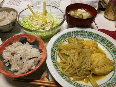 DSC_6998_0527夜-鶏ともやしとゴボウカレー炒め、ポテトキャベツサラダ、豆腐崩し味噌汁ゴボウ風味、雑穀ごはん炊きたて_400.jpg
