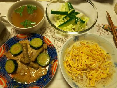 DSC_7106_0531夜-採れたて春菊のチキンスープ、ズッキーニとゴボウとポーク味噌炒め、錦糸卵素麺、キュウリキャベツサラダ_400.jpg