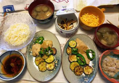DSC_7126_0602昼-チキンとズッキーニとピーマンソテー、ナスの味噌汁、素麺、錦糸卵、雑穀ごはん_400.jpg