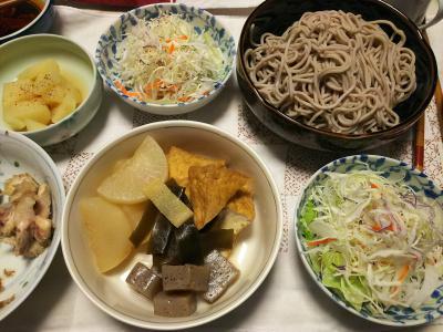 DSC_7131_0602夜-厚揚げと大根とこんにゃくの煮物、キャベツサラダ、茹でポテト、手羽元甘辛煮、蕎麦_400.jpg