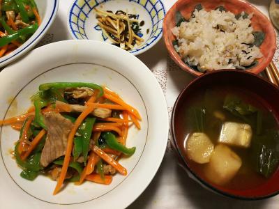 DSC_7302_0617夜-ポーク人参ピーマンきくらげ炒め中華風、麸のスープ、大根昆布和え、雑穀ごはん_400.jpg