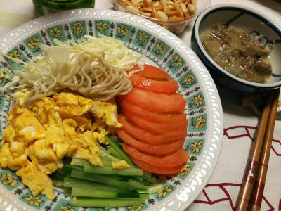 DSC_7576_0627夜-サラダ蕎麦、肉ごぼう、柿の種_400.jpg