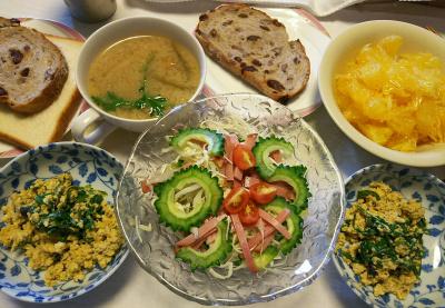 DSC_7580_0628昼-ゴーヤNo1とミニトマトのサラダ、サラダシュンギクの卵とじ、サラダシュンギク味噌汁、甘夏、レーズンパン_400.jpg